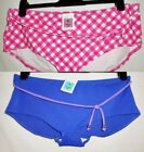 M&S Marks & Spencer Shorts Bikini Bottoms in Pink Mix Check Blue Size 14-22