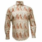 Relco  White And Brown Retro L/S Shirt With 60's Psychedelic Print Sizes S-XXL