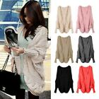New Women's Batwing Sleeve Knitted Cardigan Asymetry Hem Loose Casual Sweater