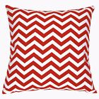 ae321a Off White Red Zig Zag Chevon Cotton Canvas Cushion Cover/Pillow Case Size