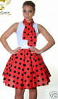 Wicked Fun 50s Style Circular Skirt Red Black Polka Dot 18 in Polyester Elastic