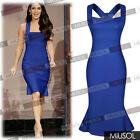 Ladies Strap Evening Wedding Formal Party Peplum Knee Bodycon Dresses Size681024