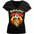 Spain World Cup Soccer Flag Crest Spanish Pride Girls Junior V-Neck T-Shirt