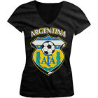 Argentina World Cup Soccer Flag Crest ArgentinePride Girls Junior V-Neck T-Shirt