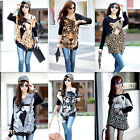 Women Batwing Long Sleeve Top Sweater Tiger/Animal Print Acrylic Knitted Blouse