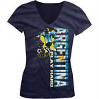 Argentina Play Hard World Cup 2014 Soccer Player Girls Junior V-Neck T-Shirt
