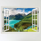 Full Colour Mountains Lake Forest Scene Wall Sticker Art Decal mural transfer