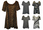 New Ladies Women Various Print short Sleeve Swing Smock Tunic Top Plus Size16-26