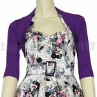 RoCkaBiLLy Purple Short Sleeve Cropped Cardi Shrug ~ Retro 50s Cardigan Bolero
