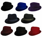 Men Ladies 100% Wool Fedora Trilby Quality Hat With Band Sizes S - M - L