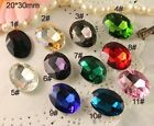 12pcs Vintage Rhinestone Faceted Point back Foiled crystal Jewels Oval 20x30mm