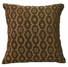 we61a Brown Gold Damask Check Chenille Throw Pillow Case/Cushion Cover*Cust Size