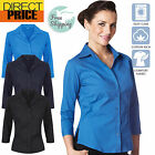 Ladies Shirt Blouse 3/4 Short Sleeve Stretch Womens Fitted Business Office Wear
