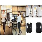 Women Sexy V Neck Lace Chiffon Long Sleeve Shirt Flared Top T-shirt Blouse -S