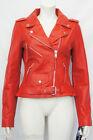 Brando Classic Ladies Red Biker Style Motorcycle Cruiser Hide Leather Jacket