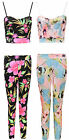 Womens Ladies Floral Print Cami Cropped Bra Top Trouser 2 Piece Suit Set 8-14