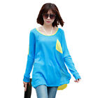 New Womens Fashion Casual Simple Pocket Hit Colour Loose Long Sleeve T-shirt Top