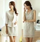 Slim Single Button Crew Neck Should-Padded 3/4 Sleeve Jacket Dress Suit Set New