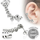 316L Surgical Stainless Steel 0.15 Ct CZ Cast Skulls Cartilage Ear Cuff (3285)
