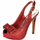 RED GLITTER SLINGBACK PLATFORM HIGH HEELS EVENING/PARTY DESIGNER WOMENS SHOES