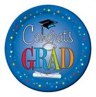 "Congrats Star Grad Graduation Party Blue 8 ct 9"" Lunch Dinner Plates"
