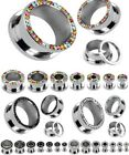"New PAIR Gem Rimmed Steel Screw Fit Tunnels Plugs Earlets Gauges 8GA-1/2"" (CR05)"