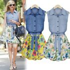 HOT Womens Chiffon+Cotton Sleeveless Cocktail Evening Party Floral Summer  Dress
