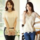 Womens Chiffon Lace Short Sleeve Crew Neck Casual Shirt Blouse Top Size M-XL New