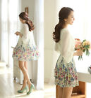 Womens Casual Elegant 3/4 Sleeve Chiffon Flower Printed Princess Dress With Belt