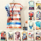 Women Girl Fitted Short Sleeve Graphic Printed 3D T-shirt Blouse Vest Tank Tops