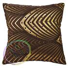 hj01a Brown Lt. Gold Brown Peacock Pattern Cushion Cover/Pillow Case Custom Size