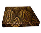 hj01t Brown Lt. Gold Brown Peacock Feather 3D Box Square Sofa Seat Cushion Cover