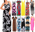 Womens Summer Floral Printed Maxi Dress Womens Bright Plain Long Party Size 8-20