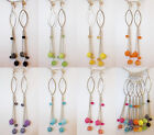 """CLIP ON 5"""" LONG You Choose Color RHINESTONE Chain Rose Silver Tone Earrings"""