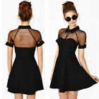 Summer Women Sexy Mesh Cutout Mini Dress Sweetheart Neckline Short Sleeve Dress