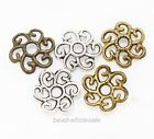 100pcs Antique Silver/Gold/Bronze Tone Large Flower Bead Caps Findings 11mm