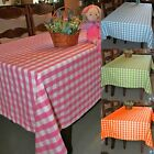 Gingham Check Cotton Fabric Large Tablecloth Orange Pink Blue Green Table Linen