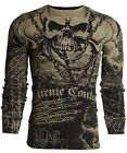 Xtreme Couture AFFLICTION Men THERMAL T-Shirt KILLER Skulls Tattoo Biker UFC $58
