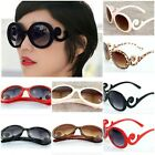 Retro Womens Ladies Inspired Baroque Curved Resin Frame Round Sunglasses Glasses