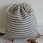 5 X Stripe Cotton/Linen Bags Handmade Drawstring Storage Sock Underwear Pouch