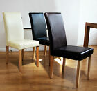 2 FAUX LEATHER DINING ROOM CHAIRS HOME KITCHEN LIVING ROOM HIGH BACK OAK LEGS