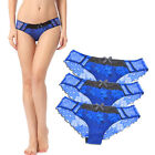 3 Pairs Sexy  Lovely Lace Embroidered Sheer Low-Rise Bikini Hipster Blue M L