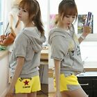Women Casual Zip Short Sleeve Hooded Top Hoodies Shorts Tracksuit Pockets New