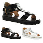 WOMENS SPARKLY LADIES BUCKLED DOUBLE T BAR STRAP SANDAL SHOES SIZE 3-8