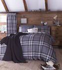 Catherine Lansfield Kelso Charcoal Duvet Cover set various sizes inc pillowcases