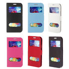 Double View Window Flip Stand Case for Samsung Galaxy S5 i9600 Magnetic Clip