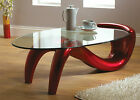 CONTEMPORARY ITALIAN DESIGN 10MM THICK GLASS OVAL COFFEE TABLE IN RED FREE P&P