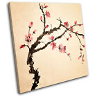 Cherry blossom Floral SINGLE CANVAS WALL ART Picture Print VA