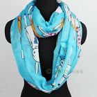 Fashion Women's Cartoon Rabbit Soft Infinity Loop Cowl Eternity Casual Scarf New
