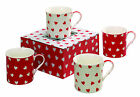 Heath McCabe Set 4 Fine China Mugs with Love Hearts Design - in various colours